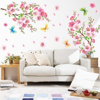 ingrosso decalcomanie a muro di vinile a farfalla-3D Pink Removable Peach Plum Cherry Blossom Flower Butterfly nascita Vinyl Art Decal Wall Home Sticker Room Decor