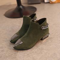 botas de tacón lindo al por mayor-2018 zapatos lindos mujer botines punta estrecha para las mujeres tacones gruesos botines de piel de felpa plantilla botines zapatos de invierno mujer