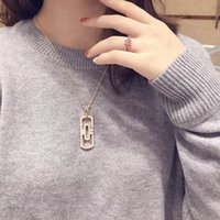 Wholesale Italy Gold Necklace - Parentes Flat necklace Italy B diamond Necklaces Fashion hollow Woman Personalities wedding Pendant Necklaces