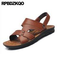 ingrosso sandali in cotone marrone-Strap Mens Sandals 2018 Summer Outdoor Uomo Scarpe Sneakers impermeabili Black Slides Designer Beach Pantofole da spiaggia Runway Brown