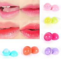 şeker parlaklığı toptan satış-3D Makyaj Yuvarlak şeker renk Nemlendirici dudak balsamı Doğal Bitki Küre dudak parlatıcısı Ruj Meyve Güzelleştirmek Etti dudak smacker