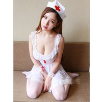 yeni hemşirelik üniformaları toptan satış-Yenilik Seksi Hemşire Cosplay Kostüm Seti Sheer Mesh Fantezi Elbise Hemşire Üniforma Günaha Kızlar için Yeni lingeries kadın kıyafeti