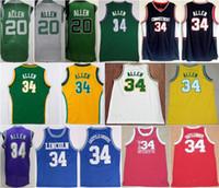 Wholesale black lincoln - Men 20 Ray Allen Jersey Lincoln Basketball 34 Jesus Shuttlesworth Jerseys Uconn Connecticut Huskies Movie Big State He Got Game