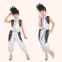 Wholesale girls hip hop dancewear - Children Hip Hop Performance Clothing Sets Girls Jazz Modern Dancewear Costumes Kids Silver Short -Sleeve Suits Outfits
