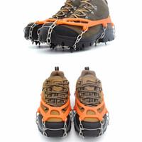crampones de cadena al por mayor-2 Unidades 8 Dientes antideslizantes Garras Crampones de Hielo Manganeso Acero Pinza de Nieve Tacos de Nieve Senderismo Zapatos de Escalada Cubierta de Cadena