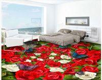 güzel kelebek duvar kağıtları toptan satış-3d pvc döşeme özel fotoğraf Su Geçirmez zemin duvar sticker Güzel Gül çiçekler deniz kelebek oturma odası 3d duvar kağıdı duvar kağıdı