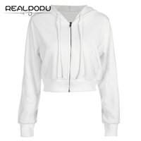 Wholesale ladies zip up hoodies - White Long Sleeve Ladies Jacket Women Zip Up Pockets Cotton Fashion Top Ribs Hem Hoodie Coat Solid Casual Sexy Basic Winter Coat