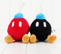Wholesale mario plush figure - 14CM Super Mario Bros Bomb stuffed toy black and red bomb soft plush doll cute bomb free shipping good gift for kids