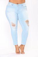 Wholesale holes jeans for female for sale - Group buy Hole Ripped Jeans Women Pants Cool Denim Vintage Pencil Jeans For Girl Mid Waist Casual Pants Female Slim Jeans Plus Size XL XL