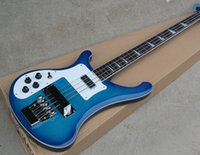 Wholesale left handed basses for sale - 2018 Factory Custom Blue string Electric Bass Guitar with Left hand White Pickguard Chrome Hardwares Good Quality