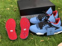 Wholesale Travis Scott Cactus Jack Travis Scott x IV Blue Version Authentic UNIVERSITY BLUE BLACK BLEU CAROLINA NOIR BASKETBALL SHOES SNEAKERS