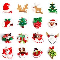 ingrosso fiori di lana-10 pz Merry Christmas Wool Elk Tree Hair Clips For Girls Pupazzo di neve Forcine Fiore Corona Archi per capelli Simpatici accessori per capelli per bambini Regalo