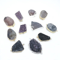 Wholesale Silver Edge Jewelry - JLN Druzy Agate Mix Color Connector Free Size Geode Stone Natural Gems With Gold Silver Edged For Bracelet Necklace DIY Jewelry Making