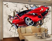 Wholesale Indoor Wallpaper - Custom Photo Wall Paper 3D Red Car Broken Wall Creative Indoor TV Background Decorative Painting Wallpaper For Living Room Sofa