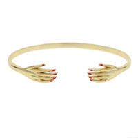 Wholesale sexy hand cuffs - Gold Color sexy women hand Bracelet For Women Simple unique dainty Charm Open Cuff Bangles Adjustable Hand Accessories Jewelry