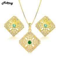 conjunto de joyas esmeralda 925 al por mayor-MoBuy 3 unids Natural Gemstone Emerald 2 unids Conjuntos de joyería 100% 925 joyería fina de plata para las mujeres que se casan V029EN