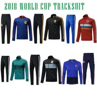 Wholesale Germany Suits - 2018 COLOMBIA GERMANY ARGENTINA SPAIN RUSSIA BELGIUM tracksuitS training suit skinny pants Sportsw