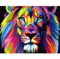 moda duvar resimleri toptan satış-Moda Çerçevesiz Renkli Aslan Hayvanlar Soyut Resim DIY Dijital Resimlerinde Rakamlarla Modern Duvar Sanatı Resim Ev Duvar Yapıt