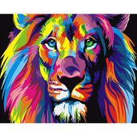 ingrosso opere di dipinti-Moda Frameless Colorato Leone Animali Pittura Astratta Dipinti Digitali di Digitali Dai Numeri Moderna Immagine Wall Art Per La Casa Wall Artwork