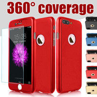 Wholesale Rose Body - 360 Degree Full Body Protection Hard PC Full Cover Body Cover Case For Iphone X 8 7 Plus 6S SE Samsung S8 Plus With Tempered Glass MOQ:10pcs