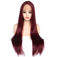 pelucas largas rojas naturales al por mayor-Nuevo Sexy Vino Oscuro Rojo Largo Recto Sintético Cordón Delantero Peluca Delineada Natural Parte Libre Sin Pegamento Calor Resistente al Calor Pelucas 150% Densidad