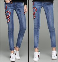 Wholesale Floral Designs Patterns - New Jeans WOmen Clothing Design Embroidered Floral Snake Denim Jeans Chic WOmen Animal Pattern Straight Biker Jeans Wholesale