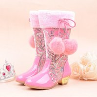 Wholesale 2018 Girls Princess High Heeled Snow Boots with True Rabbit Hairball Plush Knee High Glitter Sequins Party shoes pink Lace