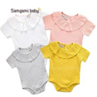 Wholesale newborn size clothing online - 7Colors Cute Baby Girls Rompers Cotton Solid Color Short Sleeved Fungus Lace Collar One Romper Newborn Baby Girl Clothes T