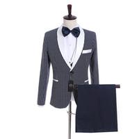 lazos blancos para la venta al por mayor-Venta caliente Azul marino Punto blanco Novio Esmoquin Un botón Lateral Vent Groomsmen Blazer Excelente Hombre Business Prom Suit (Jacket + Pants + Tie + Vest)