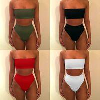 bedc1a6d2b9 ... High Waist Bikini Bandeau Women Plus Size Swimwear Biquinis Feminino Swim  Suit Bathing Beach Wear. 40% Off