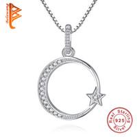 halbmond-stern halskette großhandel-BELAWANG Authentische 925 Sterling Silber Crescent Moon Star Schimmernde Kristall Anhänger Halsketten für Frauen Modeschmuck Geschenk