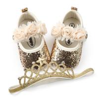 детские эластичные туфли оптовых-2PCS/Set Bling PU baby shoes + Elastic Crown headband flower first walker girls shoes mary jane party decoration soft soled