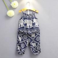 Wholesale elephant print baby clothes resale online - Children Elephant print outfits girls Sling top pants set summer Baby suit Boutique kids Clothing Sets colors C3892