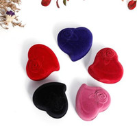 Wholesale chinese heart box resale online - High Quality Fashion flocking Gift Box earrings Rings Packaging heart shaped couple ring box fast shipping F20172866