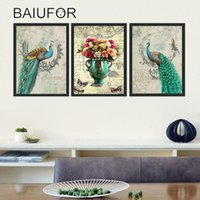 Wholesale peacock chinese paintings resale online - BAIUFOR Chinese Style Peacock Flowers Canvas Painting Wall Art Home Decor For Living Room HD Prints cuadros decoracion nordicos