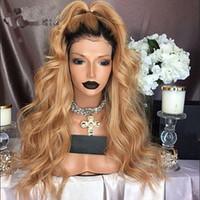 uzun saçlı kısa peruk toptan satış-sarışın # 27synthetic fiber ön peruk bebek saç ombre MHAZEl uzun sarı kıvırcık kısa siyah kökleri siyah 1b #