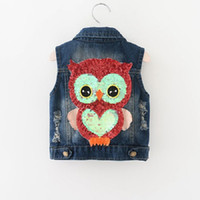 Wholesale wholesale denim jackets vests - Everweekend Sweet Kids Owl Embroidered Vest Denim Coats Sequin Lovely Baby Spring Autumn Pockets New Outwears