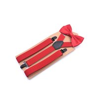 Wholesale people clips - Suspensorio AdultoThree-clip Y- shaped Suspenders Bow Tie Set Male Braces for Trousers Red White Bretelles Pour Homme for People