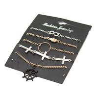 kreuz unendlichkeit gesetzt großhandel-Modyle 5 pc / set Punk wind schwarz ruder cross viel glück Infinity Bracelets Bangles Set für frauen