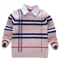suéter nuevo para niños al por mayor-2018 nuevo otoño Niños suéter tela escocesa de punto para niños Niños suéter del algodón 2-8T suéter de la manera de vestir exteriores de los niños camiseta de la ropa