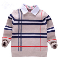 erkekler tayt tişörtleri toptan satış-2018 yeni Sonbahar Erkek Kazak Ekose Çocuk Triko Erkek Pamuk Kazak Kazak Çocuk Moda Giyim T-shirt 2-8 T giysileri