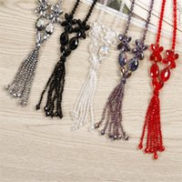 Wholesale Red Crystal Bib Necklace - Fashion Long Necklace New Classic Crystal Flower Bib Tassel Necklaces Sweater Necklaces & Pendants Gift Mix Colors ZX