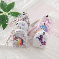 Wholesale rainbow bag packaging online - Baby Girls Unicorn Flamingo Wallet Zipper Rainbow Unicorn Coin Bag practical tassel print change purses data line storage package accessory