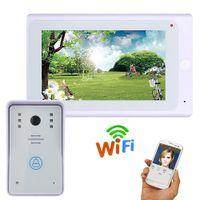 draht-gegensprechanlage großhandel-7 Zoll 720P Video Türsprechanlage Türklingel Kit Video Intercom System mit APP Fernbedienung Wired / Wireless Wifi IP Connect