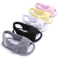 Wholesale princess baby cribs resale online - Fashion beautiful summer girl baby bowknot sandals newborn infant casual outdoor princess crib shoes top quality