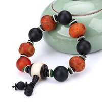браслет красный камень оптовых-Natural Stone  Bracelet Charm Bangle Frosted Red Agate Tibet Dzi 3eyes For Men's Bracelets Round  Elasticity Rope Gift