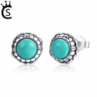 Wholesale wholesale turquoise flowers online - Authentic Sterling Silver Birthday Blooms Earrings December Stone Stud Earrings for Women Jewelry Pandora style