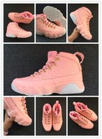 Wholesale Girls White Satin Shoes - 2018 Wholesale high quality air retro 9 GS Vivid Pink white Women Basketball shoes 9s Girl Sports sneakers training outfoor size 36-40