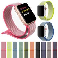 смотреть 38 мм оптовых-Для Apple Watch iWatch Band 42 мм 38 мм Нейлон Мягкий дышащий Спортивная петля Регулируемый ремешок для закрытия для Apple Watch 3 2 1