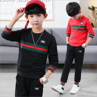Wholesale famous babies - G Family Logo Famous Brand Baby Boy Two Piece Tracksuit Fashion Red Green Striped Designer Pullovers Hoodie+Pants Set